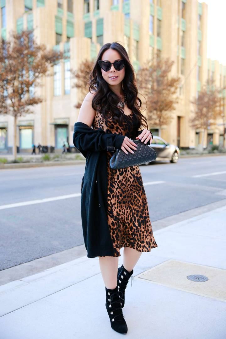 Vietnamese Asian American Street Style Fashion Blogger An Dyer wearing Leopard Slip Dress with Chanel Clutch
