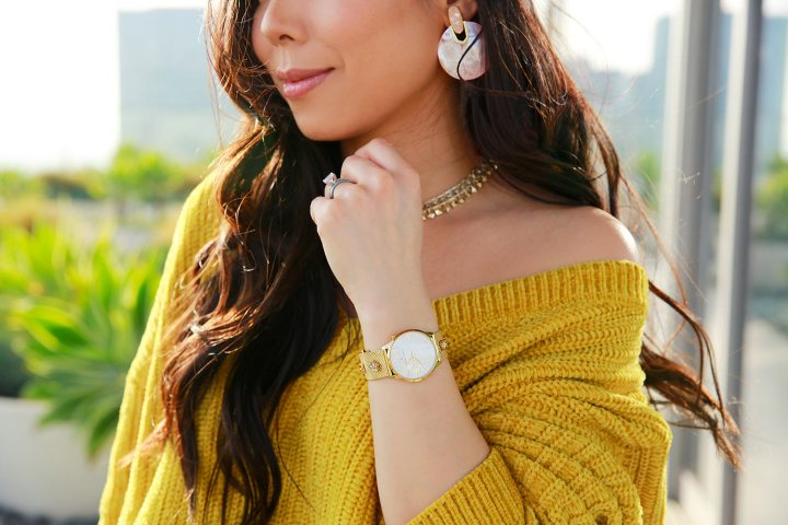 LA Blogger wearing Thom Olson Gold Watch