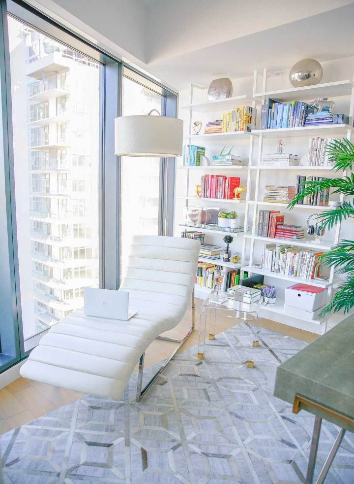 DTLA Lifestyle Blogger Apartment Tour Library Reading Nook Los Angeles High Rise