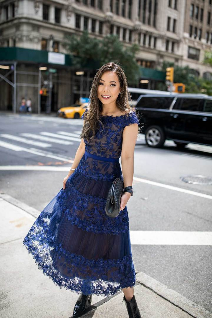 NYFW Street Style Vietnamese Asian American An Dyer wearing Tadashi Chanel Timeless