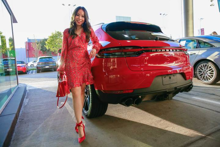 Fashion Blogger An Dyer at Downtown LA Porsche with Carmine Red Macan S