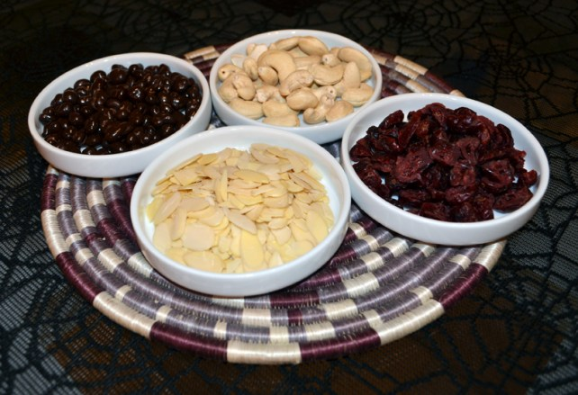 Cashews, Dried Cranberries, Slivered Almonds, Chocolate-covered Raw Cacao Beans