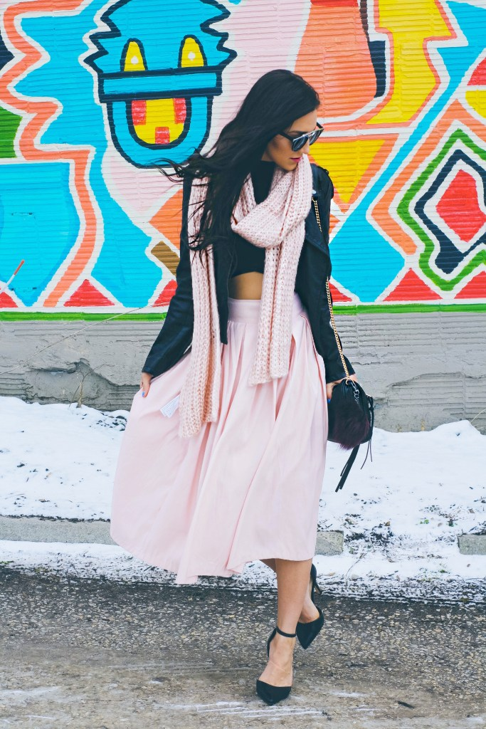 Midi skirt + Leather