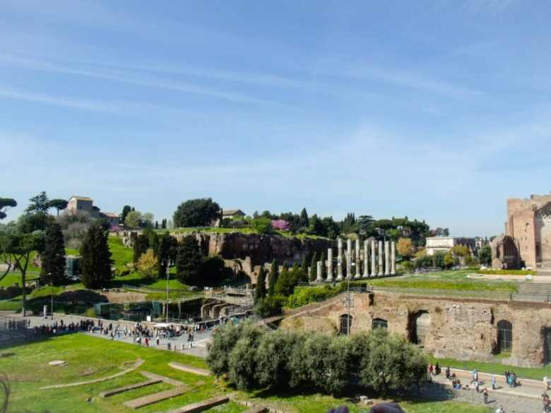 View of the Roman Forum from inside the Colosseum.