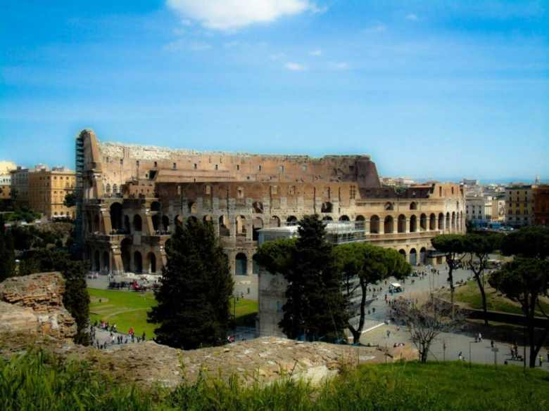 This is the view of the Colosseum from the Roman Forum.