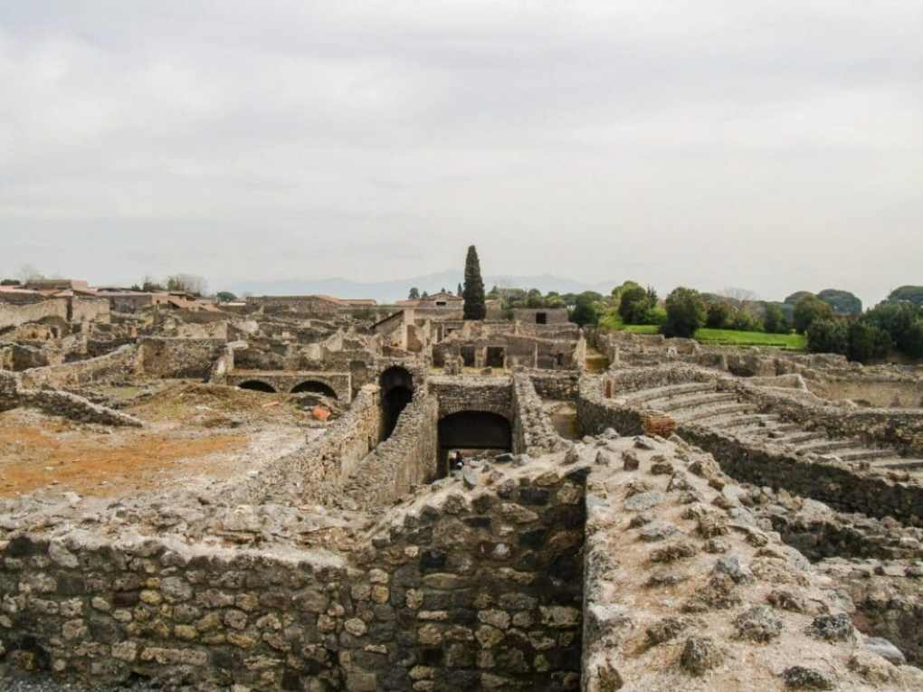 Overlooking the ruins of Pompeii.