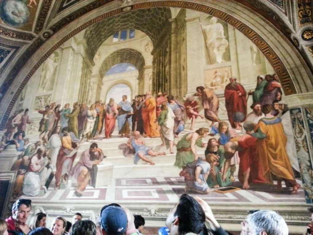 The School of Athens is the most famous fresco of the Italian Renaissance by Raphael. It represents philosophy ,and you can see Plato, Aristotle, Socrates, etc.