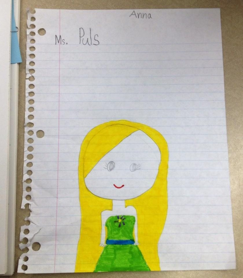 One of my 2nd graders drew this picture of me, and designed me a green dress.