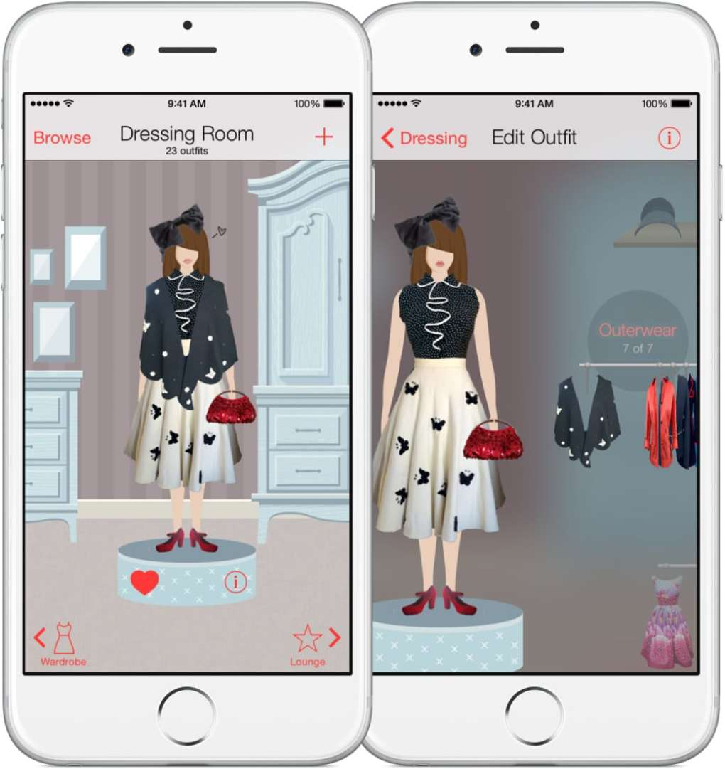 Screen shot of the app, Dressed, in action. Photo courtesy of Dressed.