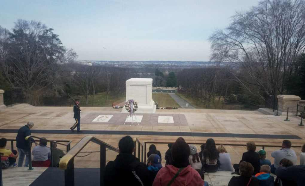 This picture was taken just before the Changing of the Guards Ceremony at the Tomb of the Unknown Soldier.