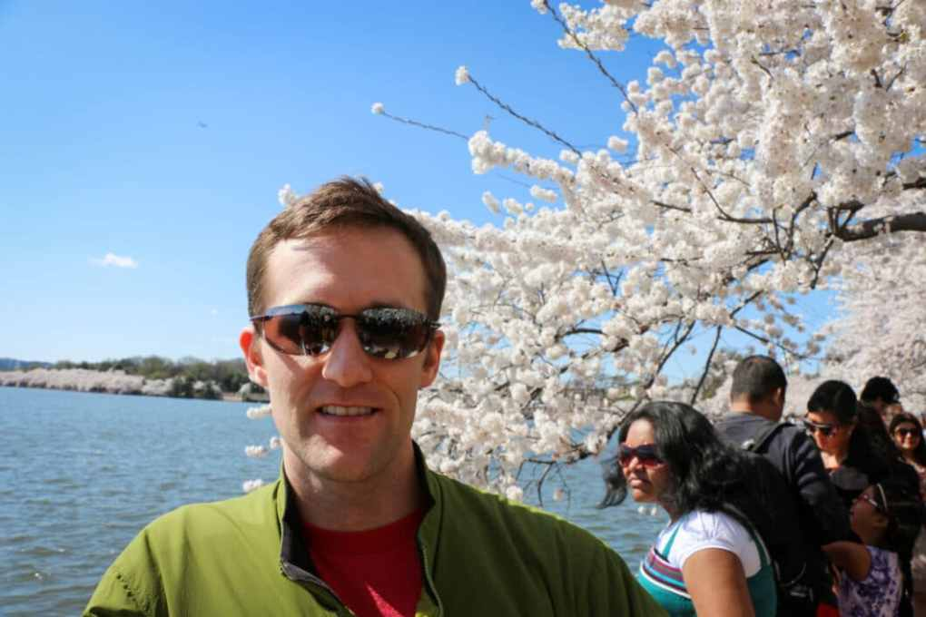 My husband, the cherry blossoms and a whole bunch of other people. Ha.