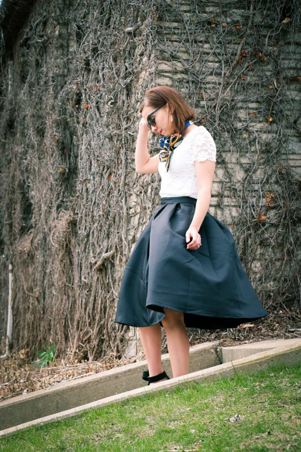 Romwe Black Midi Skirt
