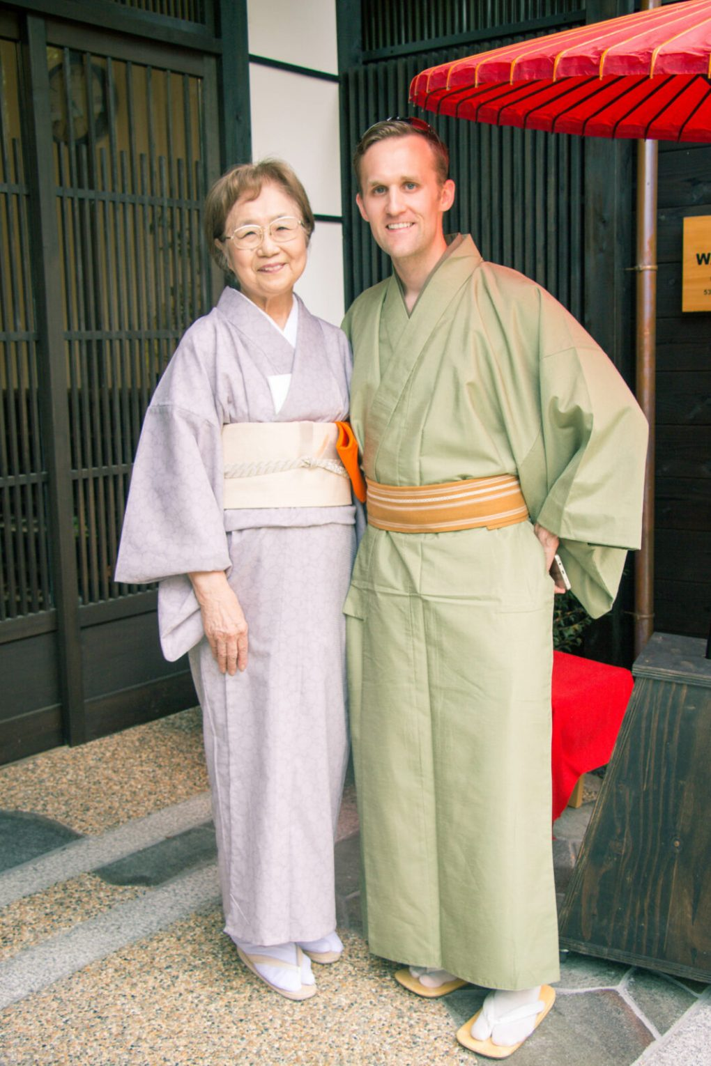 My husband with our tea ceremony instructor.