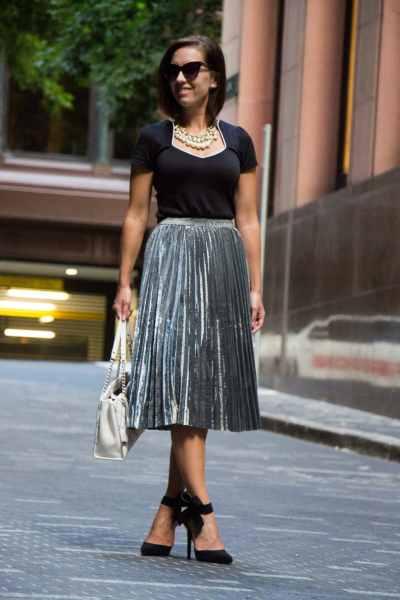 shein metallic skirt