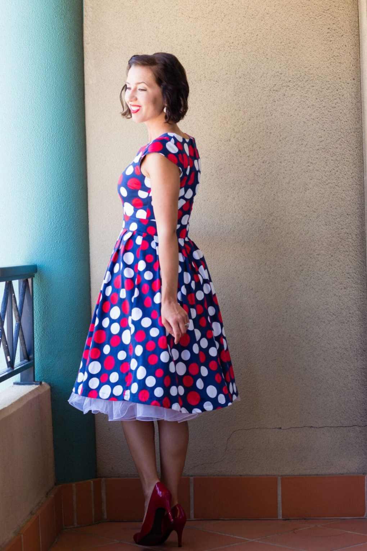 polka dot dress and white petticoat