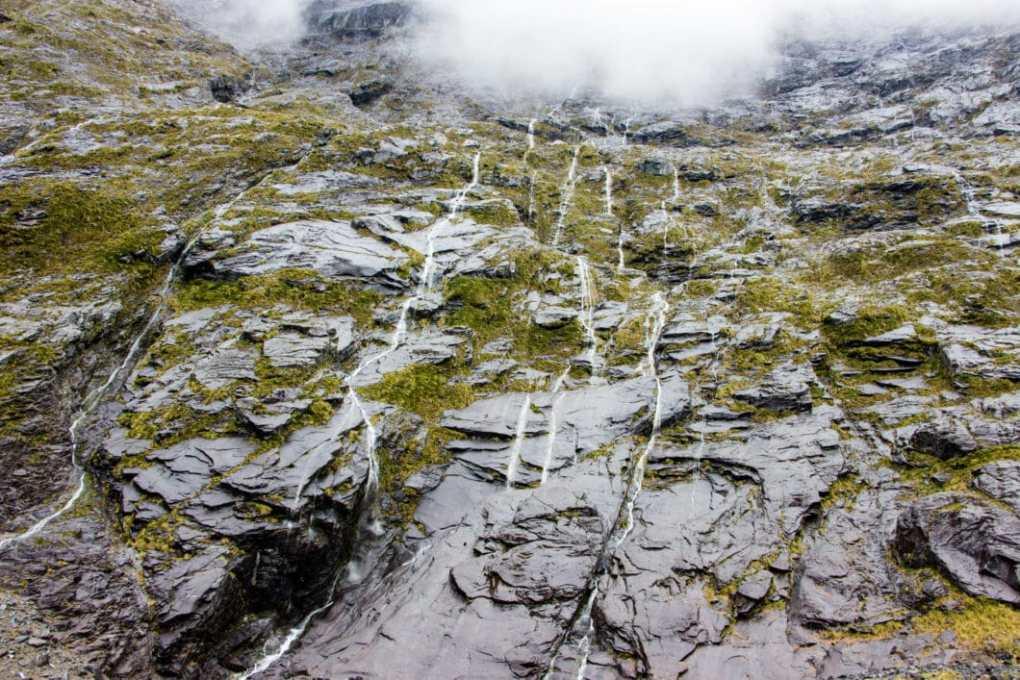 waterfalls in Fiordland National Park