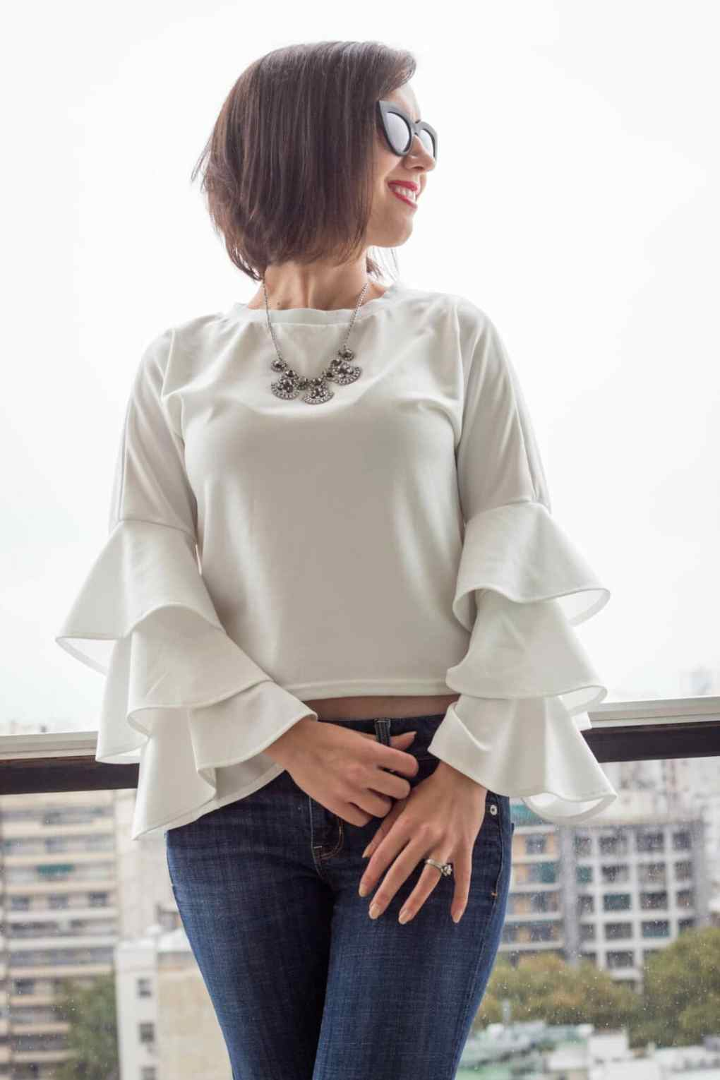 Shein ruffle sleeves white top