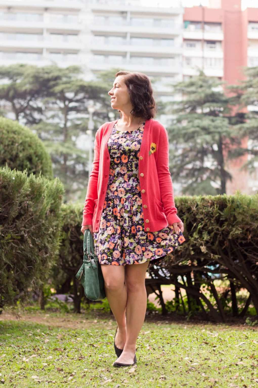 Floral dress & pink cardigan
