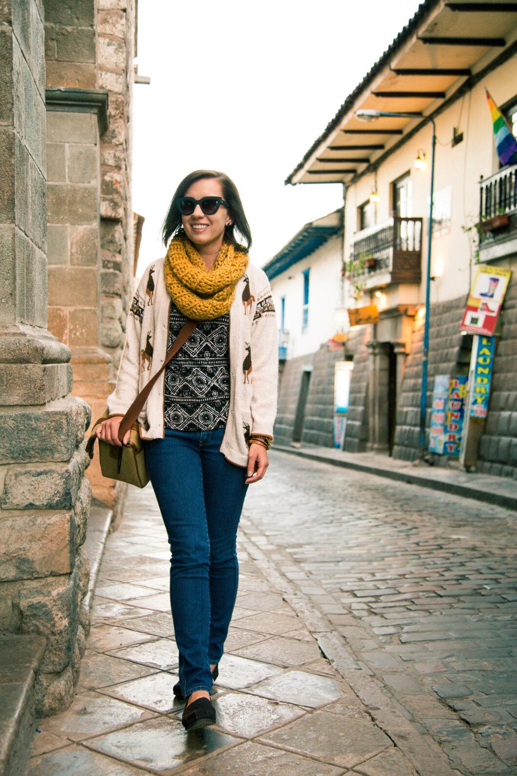 Alpaca sweater - Cusco Peru travel outfit