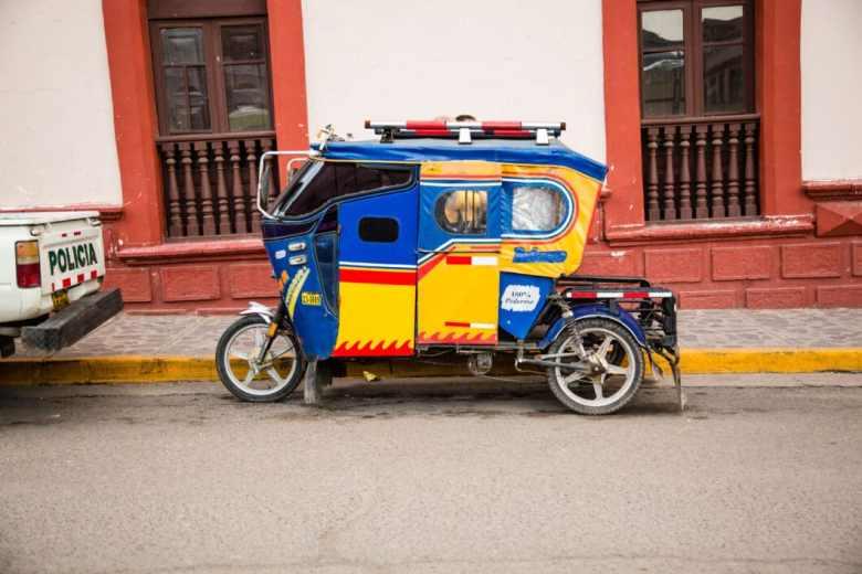 Rickshaws are quite common in smaller cities.