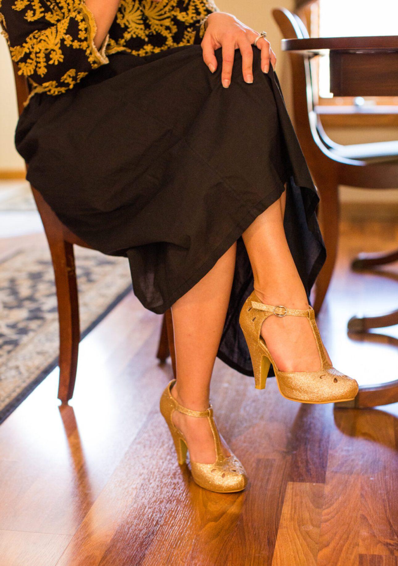 ModCloth gold glitter heels