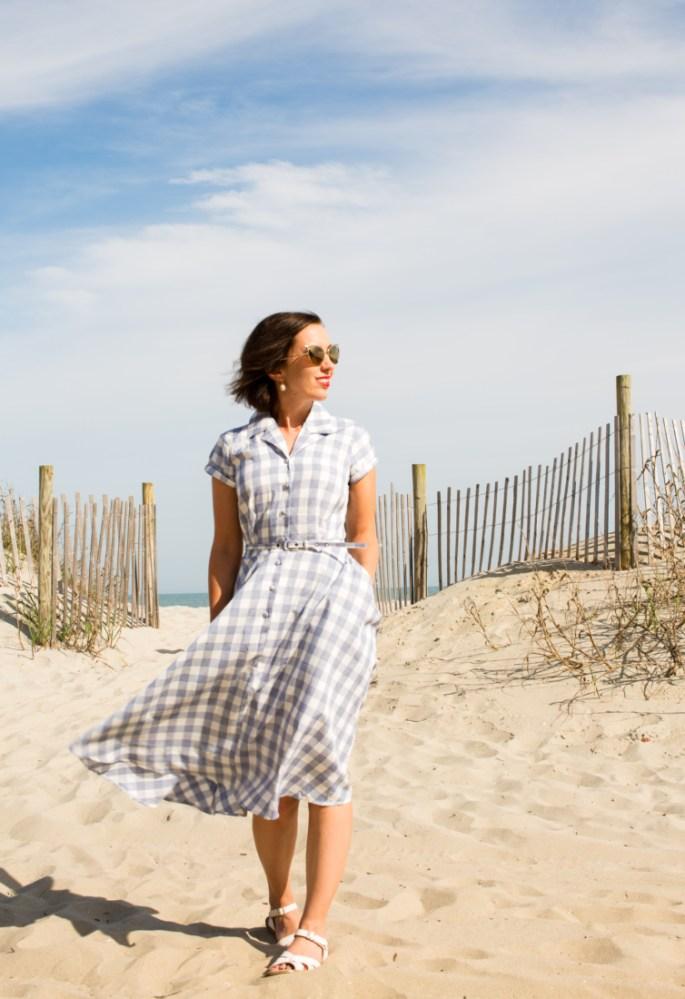 Unique Vintage 1950s Style Light Blue & White Gingham Alexis Short Sleeve Swing Dress