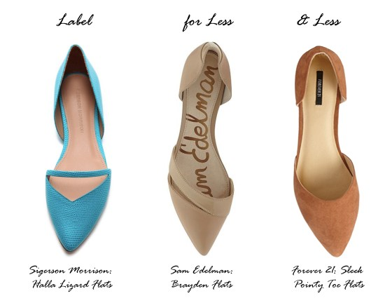 Label for Less pointy toe flats