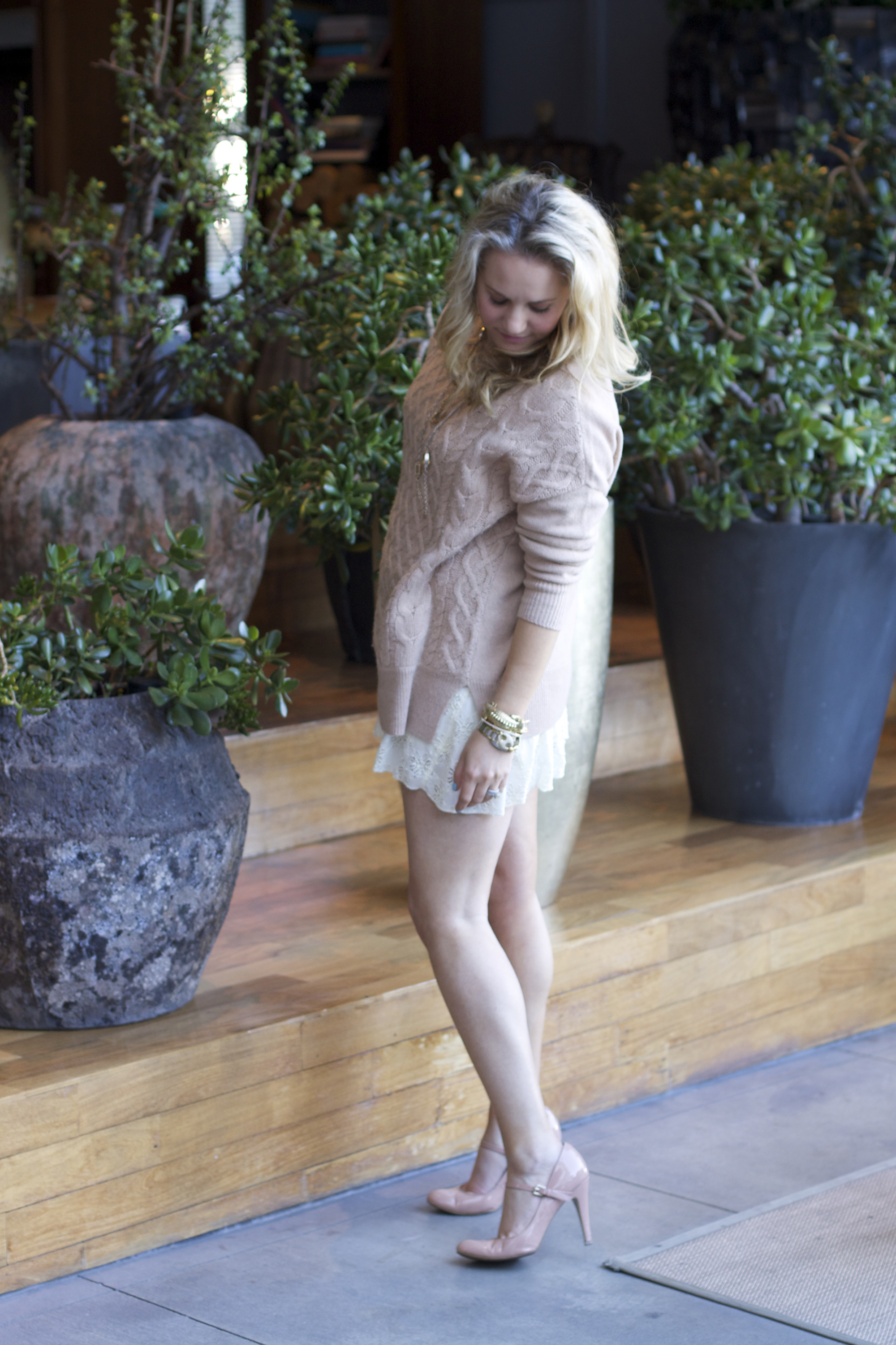 LuckyFABB, Joie Sweater, Free People Lace Dress, Nine West Shoes, How to layer, Neutral outfit ideas, Fashion blogger, Spring fashion, Spring outfit ideas, outfit inspiration, Layering, Lace Dress, Cable knit sweaters, LuckyFABB conference, LuckyFABB west, Snake and Fawn