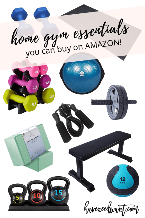 Home gym essentials you can buy on Amazon, Walmart, and Target! Head to the blog to check it out! #homegym #gymessentials #gymequipment