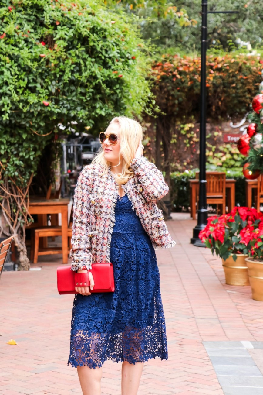 An unexpected holiday outfit wearing ASTR The Label's navy lace dress with a tweed jackets and velvet heels. My Perrin Paris clutch rounds out my outfit. Head to the blog my full look + outfit details! #holidaystyle #holidayoutfitideas #perrinparis #holidayclutch