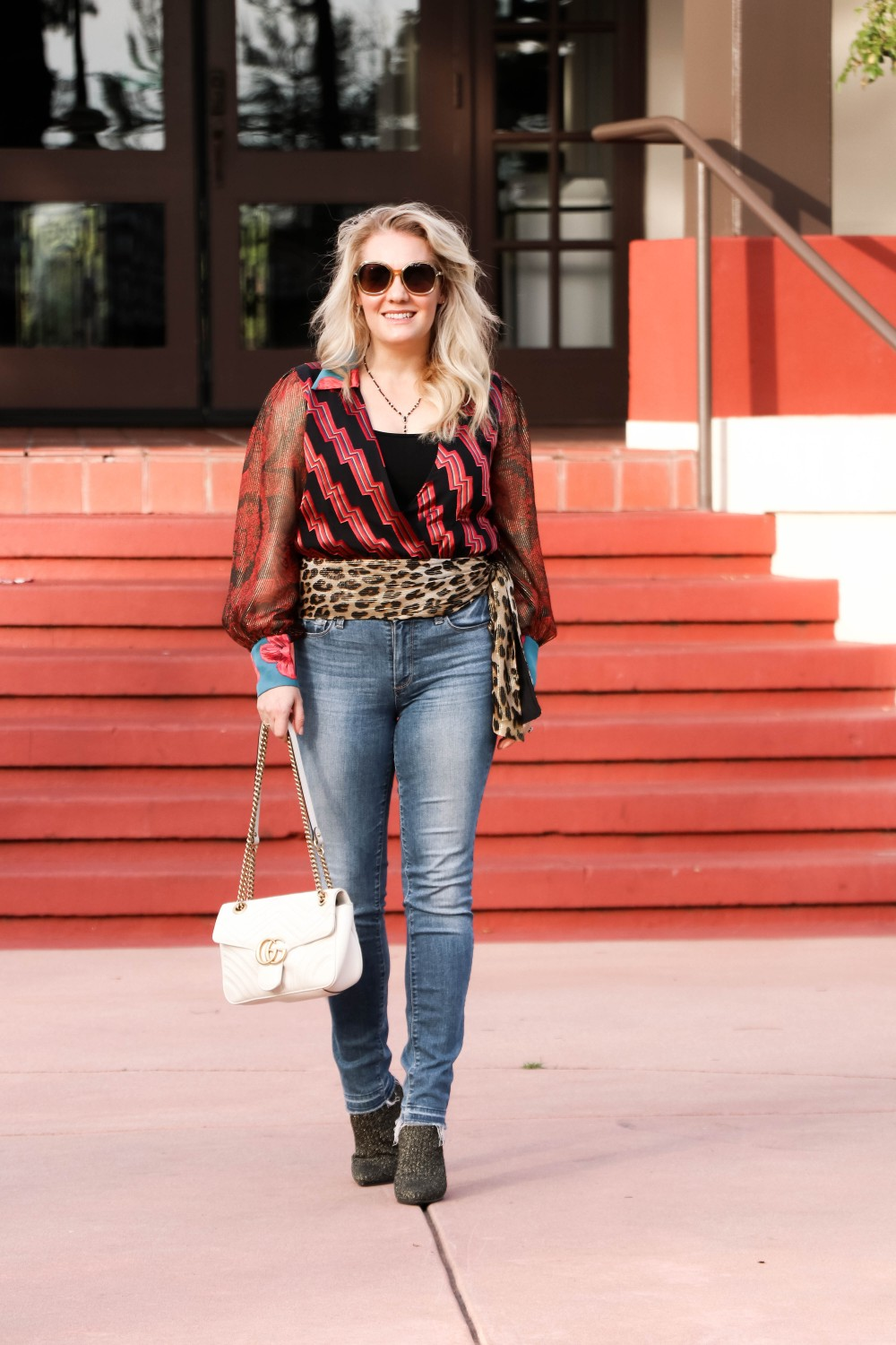 Alice and Olivia Mixed Print Top for Date Night. This Top is a Showstopper! Click on the Photo to Read the Post! | Have Need Want  #datenight #outfitinspo #aliceandolivia #printmixing