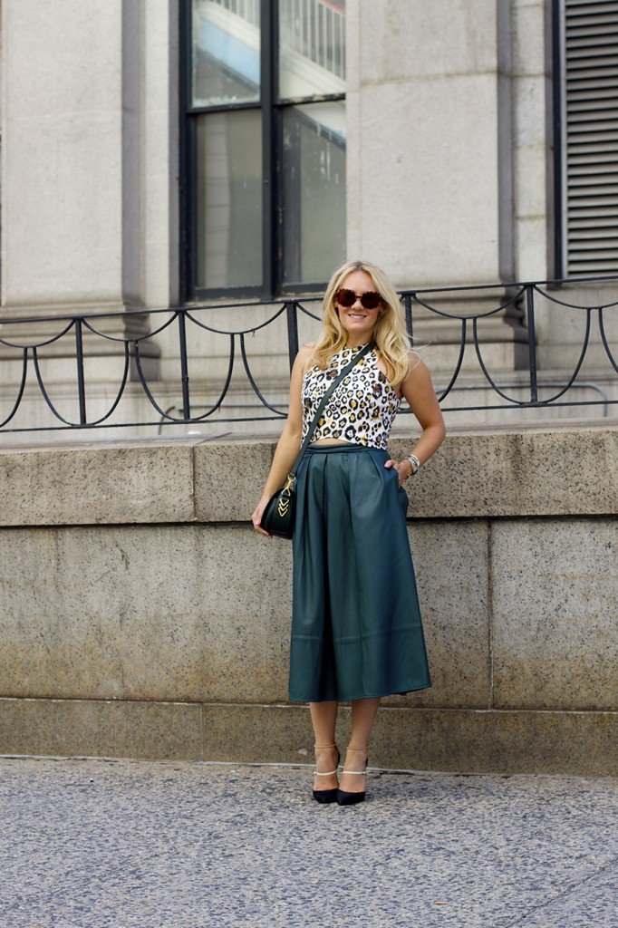 Animal print crop top-NYFW-tibi leather skirt-Schutz-Outfit inspiration 4