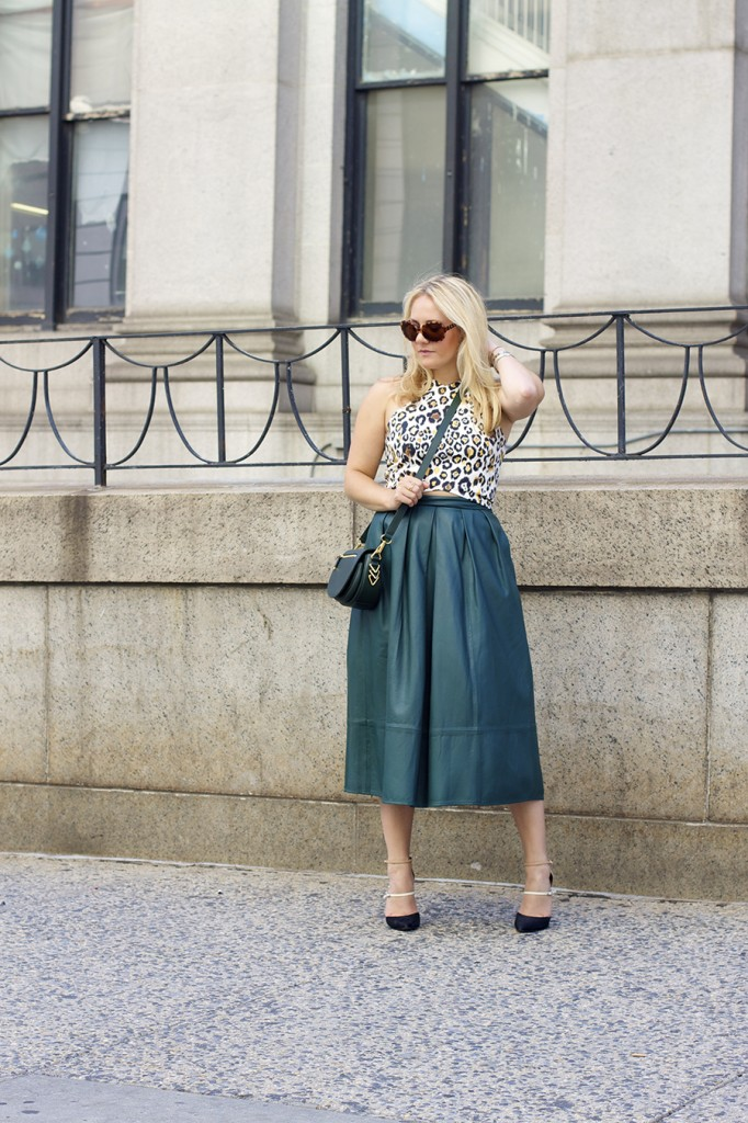 Animal print crop top-NYFW-tibi leather skirt-Schutz-Outfit inspiration 5