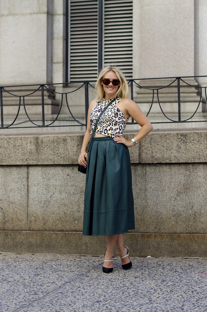Animal print crop top-NYFW-tibi leather skirt-Schutz-Outfit inspiration 7
