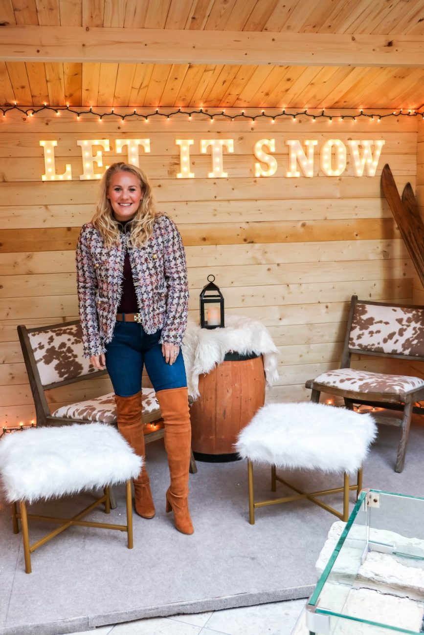 Check out the set up at Quattro's Après Ski winter dining experience at the Four Seasons Palo Alto! #apreski #winterstyle #winteroutfit #fourseasons #quattro #otkboots #tweedjacket