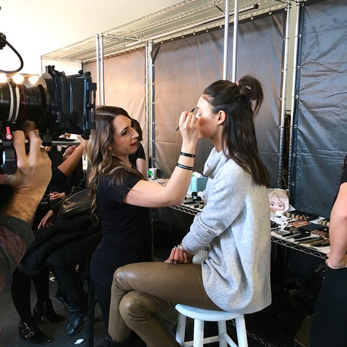 Backstage at Pamella Roland-Hair and Makeup-Behind the Scenes-NYFW Models