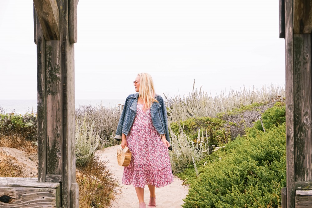Breezy Beach Dress-Summer Floral Dress-Rebecca Minkoff-Outfit Inspiration-Visit Half Moon Bay-Denim Moto Jacket-Summer Style-Have Need Want 2