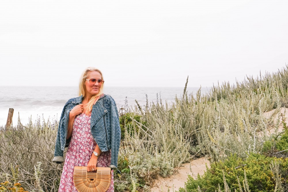 Breezy Beach Dress-Summer Floral Dress-Rebecca Minkoff-Outfit Inspiration-Visit Half Moon Bay-Denim Moto Jacket-Summer Style-Have Need Want 4