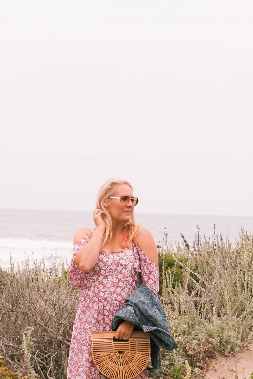 Breezy Beach Dress-Summer Floral Dress-Rebecca Minkoff-Outfit Inspiration-Visit Half Moon Bay-Denim Moto Jacket-Summer Style-Have Need Want 5