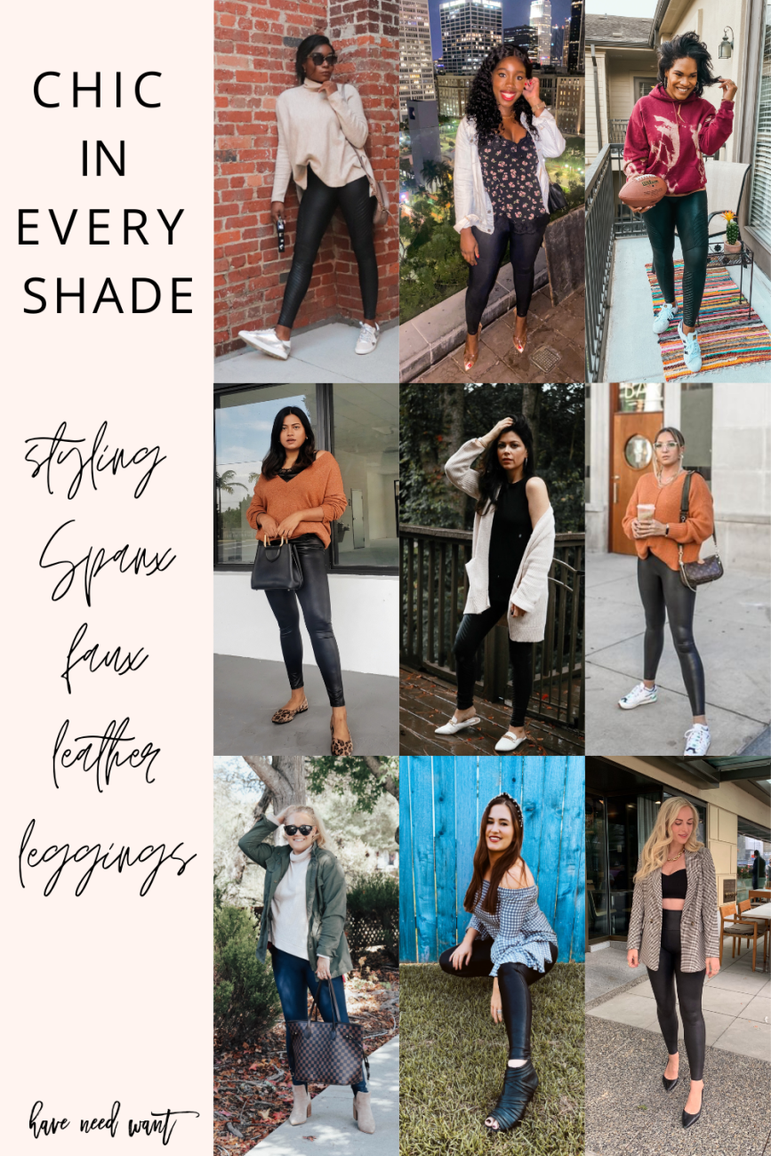 How to style Spanx faux leather leggings for fall. #chicineveryshade #spanxleggings #spanxfauxleatherleggings