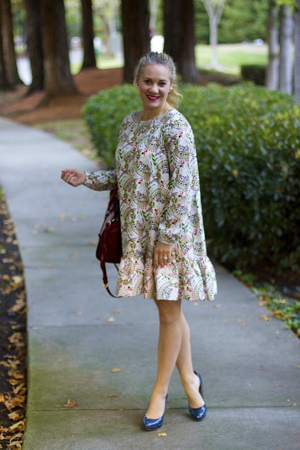 Fall Floral Ruffles, Floral Ruffle dress, Cynthia Rowley dress, Fall Style, Rainy day wear
