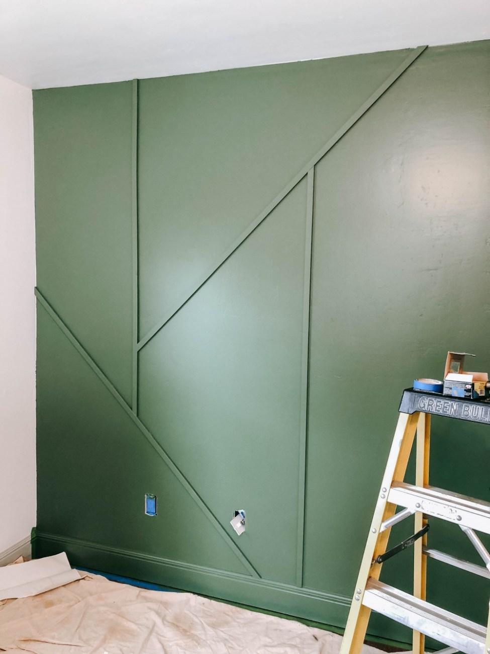 DIY modern wood trim accent wall in kids bedroom