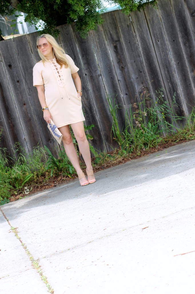 English Factory Lace Up Dress-Bay Area Blogger-Outfit Inspiration-Maternity Style-Stella & Dot Clutch-Summer Style-Pregnancy Style-Have Need Want 4