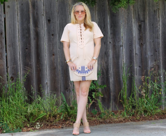 English Factory Lace Up Dress-Bay Area Blogger-Outfit Inspiration-Maternity Style-Stella & Dot Clutch-Summer Style-Pregnancy Style-Have Need Want