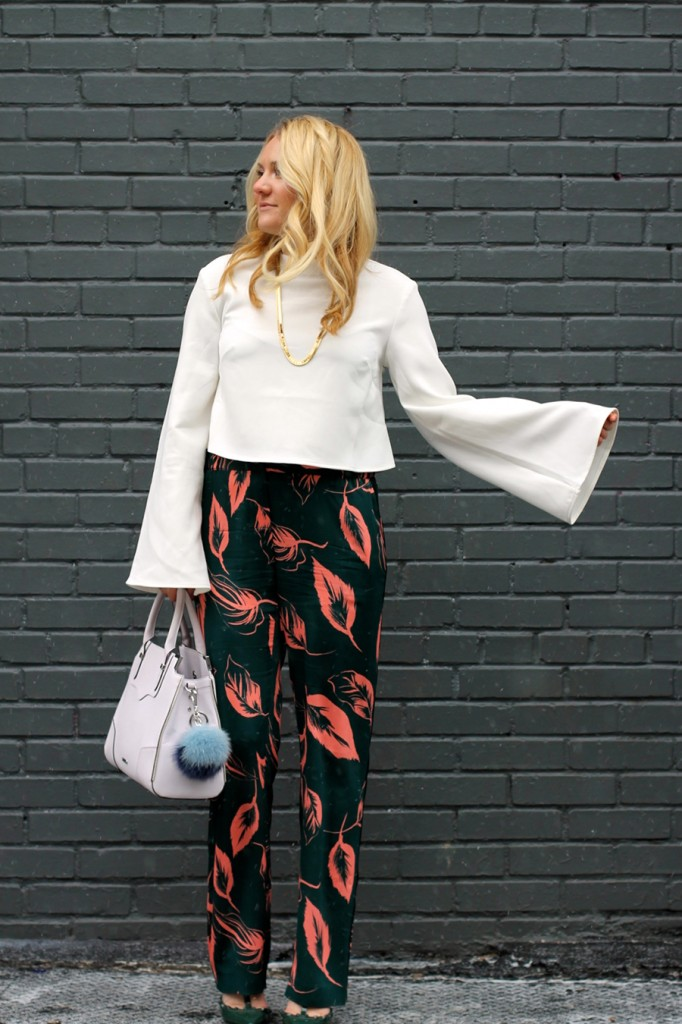 Flared Sleeve Crop Top-NYFW Steet Style-Fashion Blogger-Valentino Rockstuds-Boucle Jacket-English Factory-Nordstrom Signature Collection Pants 10
