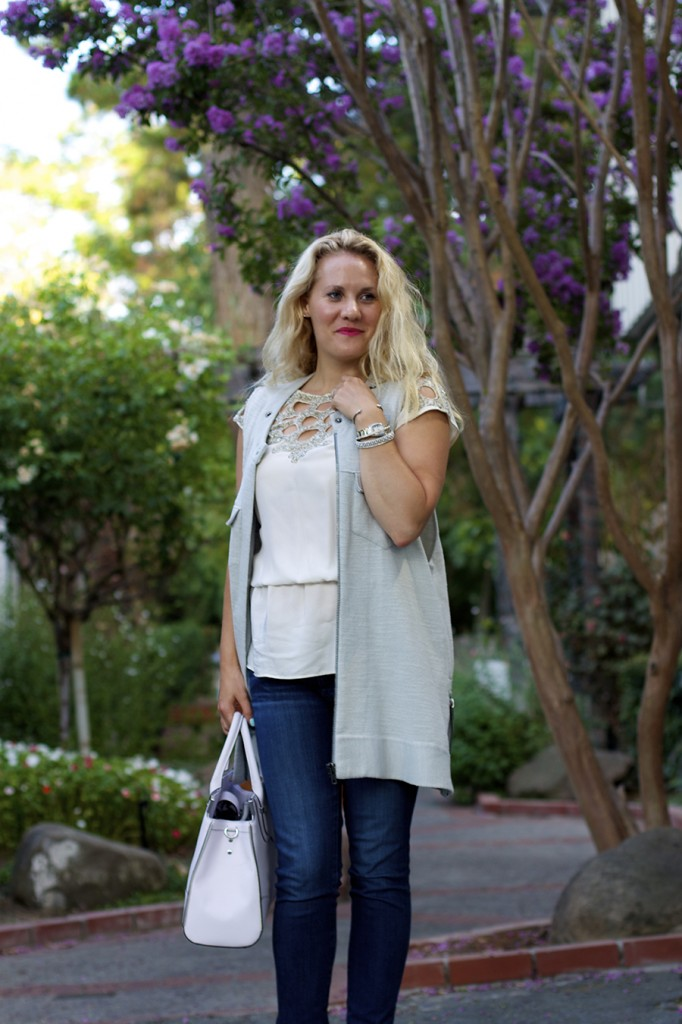 Free People Vest Miu Miu Patent Leather Peep-toe pumps Rebecca Minkoff Handbag Embellished top Fashion Blogger 8