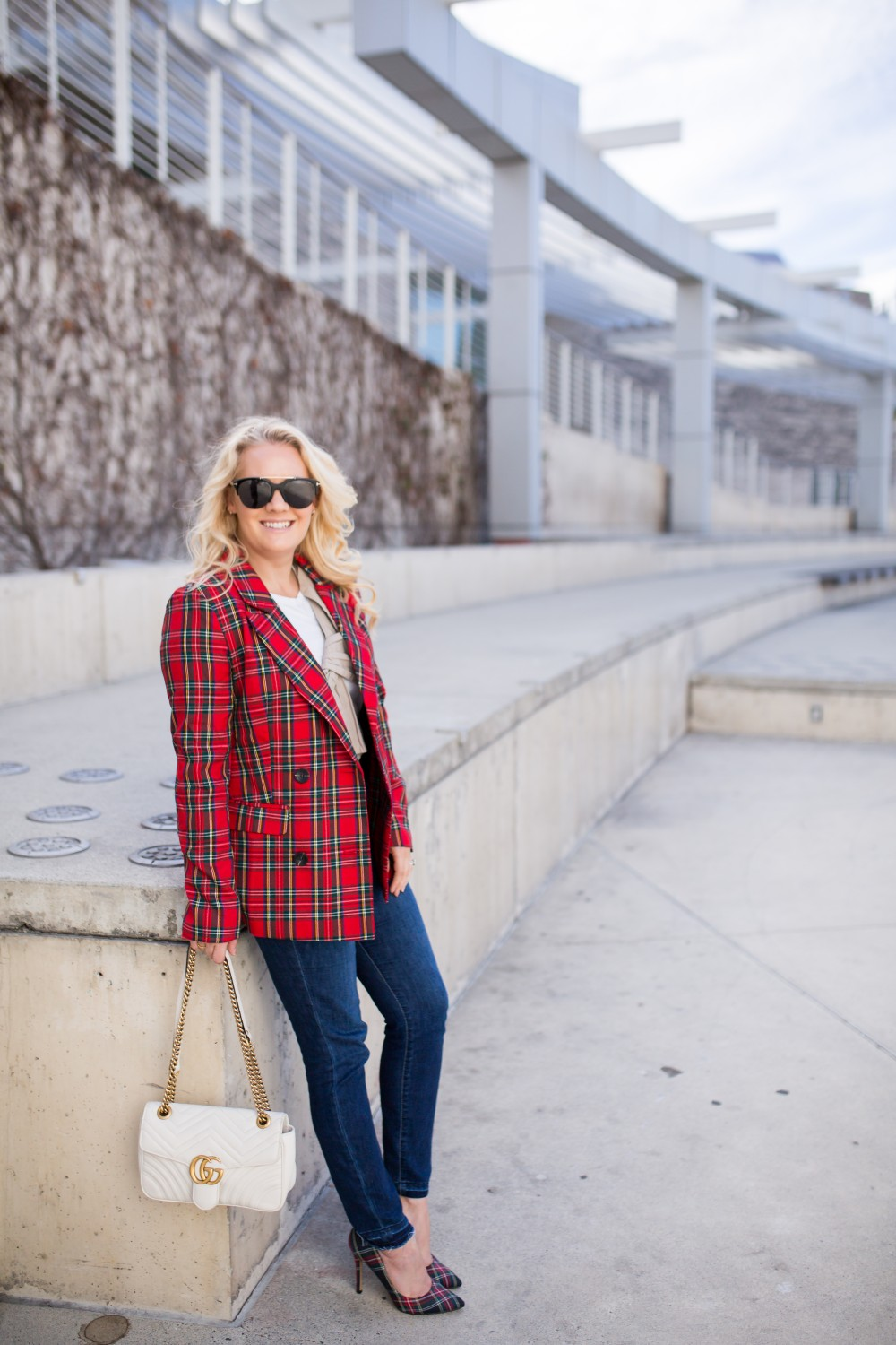 Getting Into the Holiday Spirit Wearing a Tartan Blazer and Plaid Pumps - Have Need Want #holidaystyle #plaidblazer #amazonfashion #primeholiday