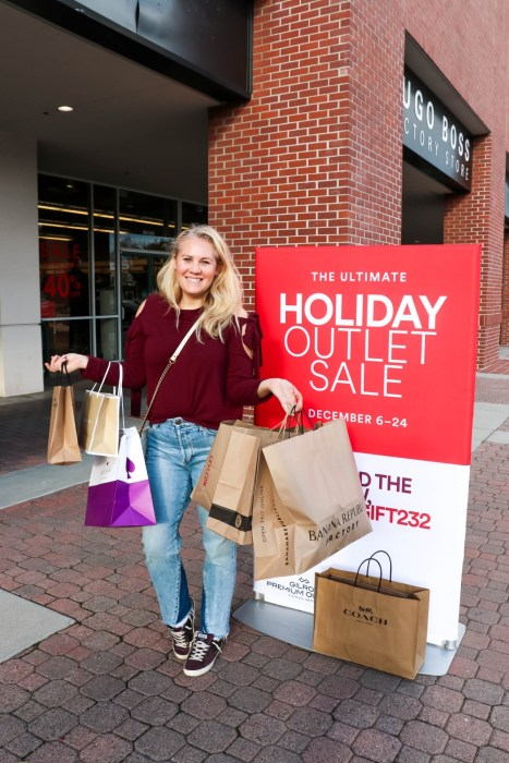 One Stop Holiday Shopping at Gilroy Premium Outlets! Head to the blog to find out about their AMAZING sales going on now through December 24th! #shoppingismyoutlet #holidayshopping #simonmalls
