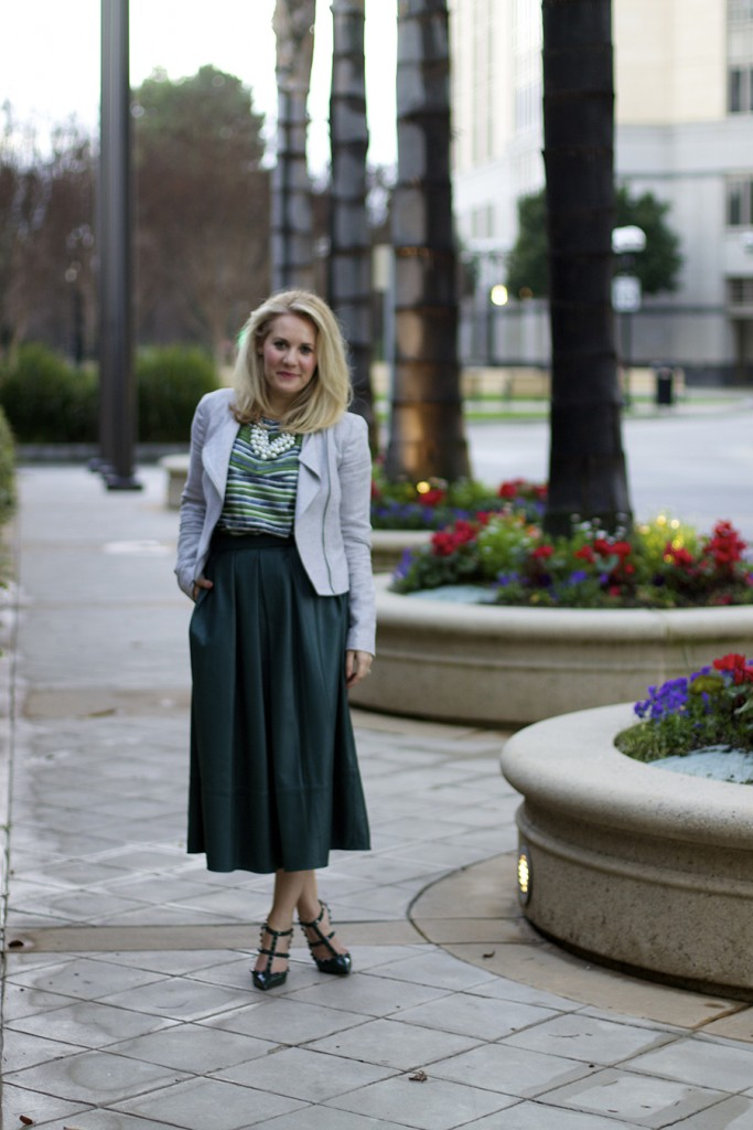 leather midi skirt, green on green outfit, fashion blogger, feminine outfit, outfit inspiration, bay area fashion blogger