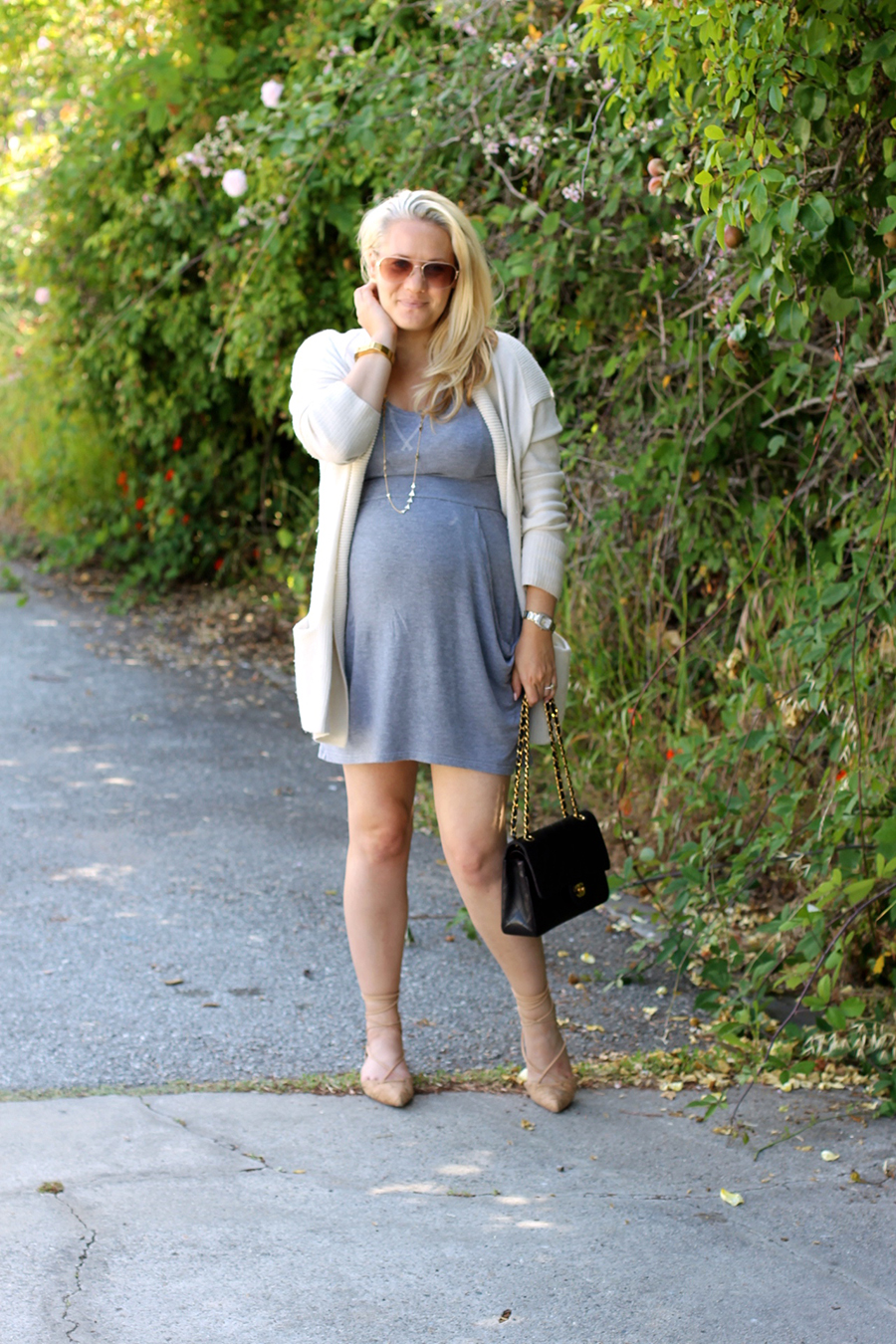 Grey Jersey Mini Dress-Maternity Style-Outfit Inspiration-Pregnancy Style-Have Need Want 5